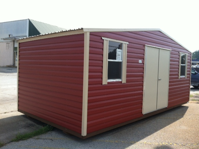 10x20 Storage Style With 5u0027 Double Door, 2 Windows, Special Order Siding  Color
